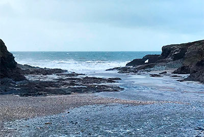 a winter storm at port gaverne, cornwall