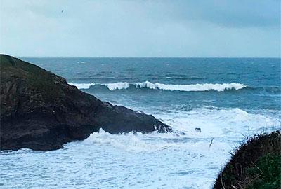 winter storm waves at port isaac, cornwall