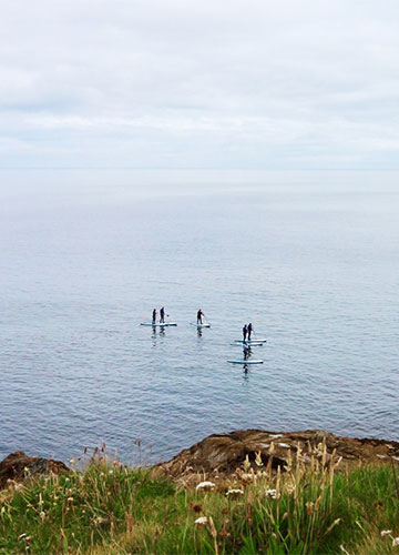 group on a stand-up paddleboarding sup tour in port isaac bay