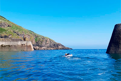 swimming out of Port Isaac harbour