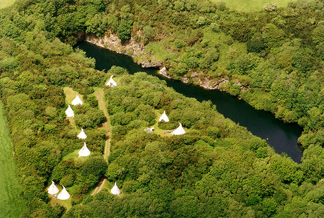 tregildrans quarry lake at cornish tipi holidays