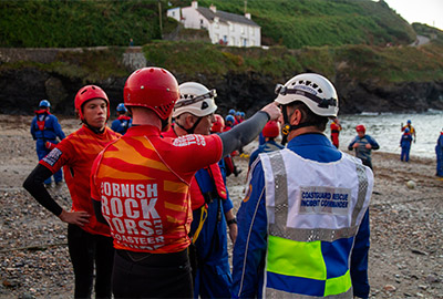 cornish rock tors taking part in a joint exercise with mca coastguard teams and port isaac rnli lifeboat