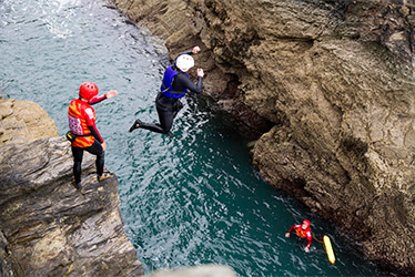 showing how coasteering guides send and receive clients during a jump