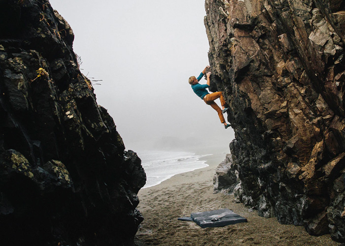 Ben Moon bouldering on the west coast of Canada