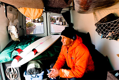 climber surfer and photographer jeff johnson in his van