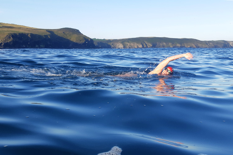 open water swimmer of the cornish coast