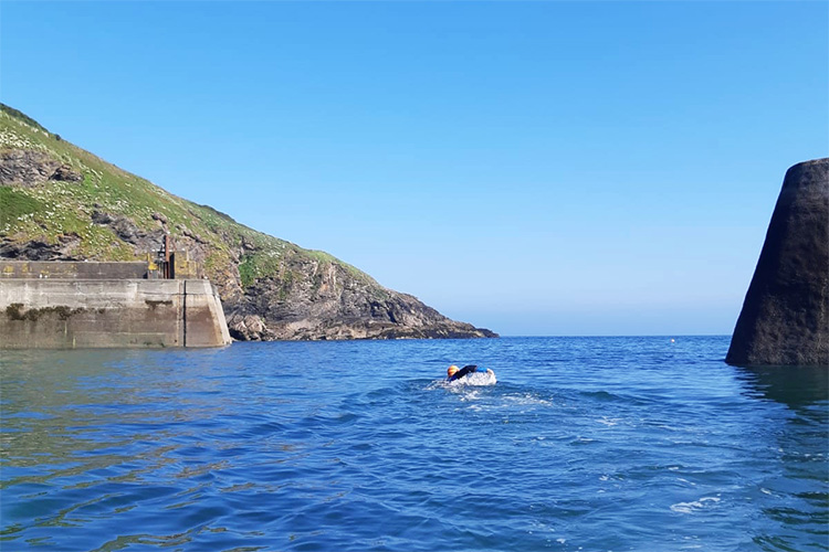 swimming between the harbour walls at port isaac