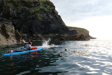 open water swimming along the cornish coast