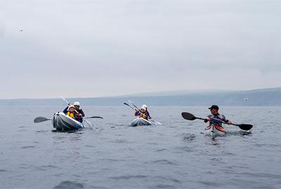 taking children sea kayaking with cornish rock tors