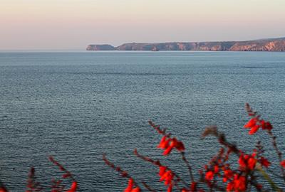 sunset on the north cornish coast at port gaverne